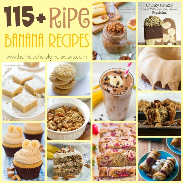 Ever wonder what to make with those ripe bananas sitting on your counter? Check out this HUGE list of delicious recipes to sue up those bananas. :: www.homeschoolgiveaways.com
