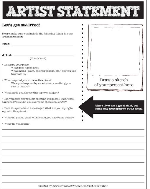 Free create with me artist statement form for middle school