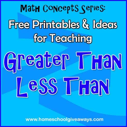 Math Concepts Series: FREE Printables and Ideas for Teaching Greater ...