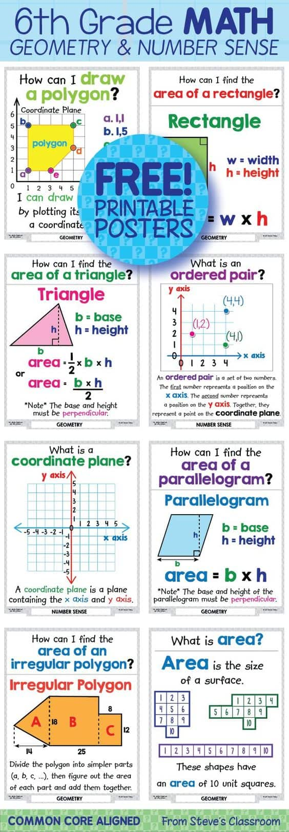 Free Worksheets geometry surface area worksheets : FREE Printable Math Posters: Area of a Triangle ...