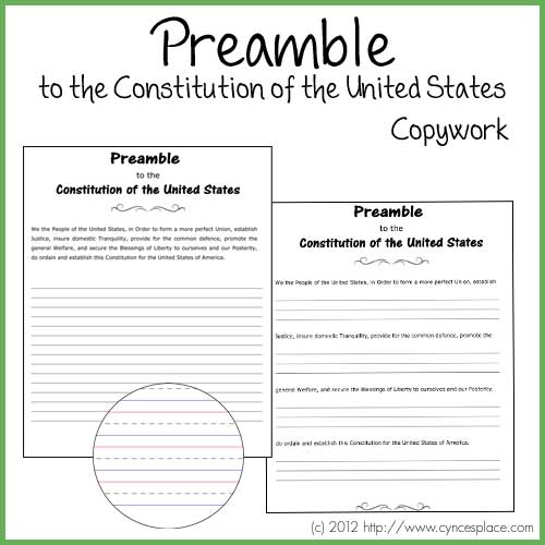 image relating to Preamble Printable titled Absolutely free Printable Preamble in direction of the Consution Copywork Web site