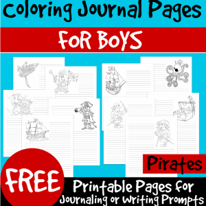 Color and Write Pirate Themed Coloring Journal Pages for Boys sq