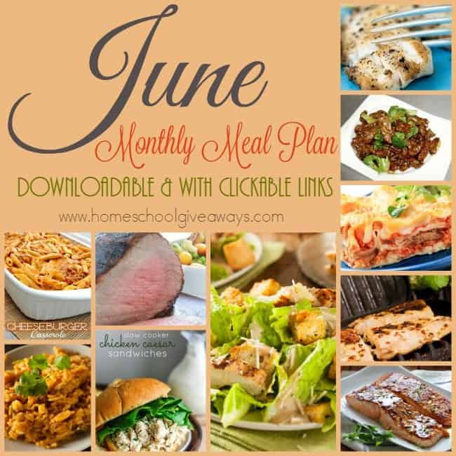 Looking for some delicious meals that don't require much prep or thinking? Grab the June 2016 downloadable Meal Plan with Clickable Links! :: www.homeschoolgiveaways.com