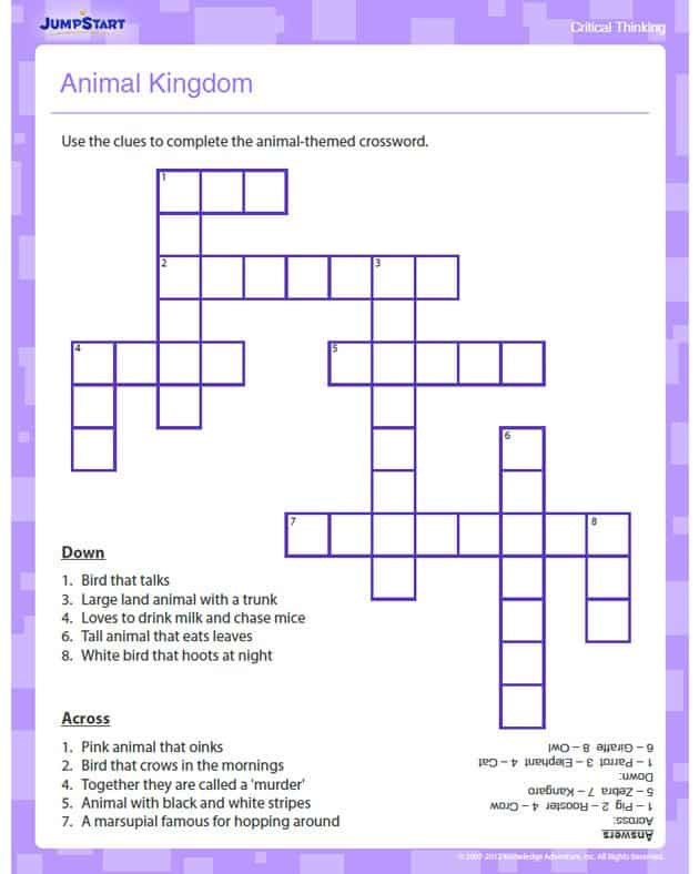free printable animal kingdom crossword puzzle. Black Bedroom Furniture Sets. Home Design Ideas
