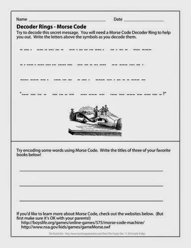 free printable morse code worksheet and decoder ring. Black Bedroom Furniture Sets. Home Design Ideas