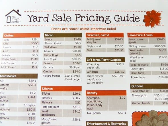 free yard sale pricing guide