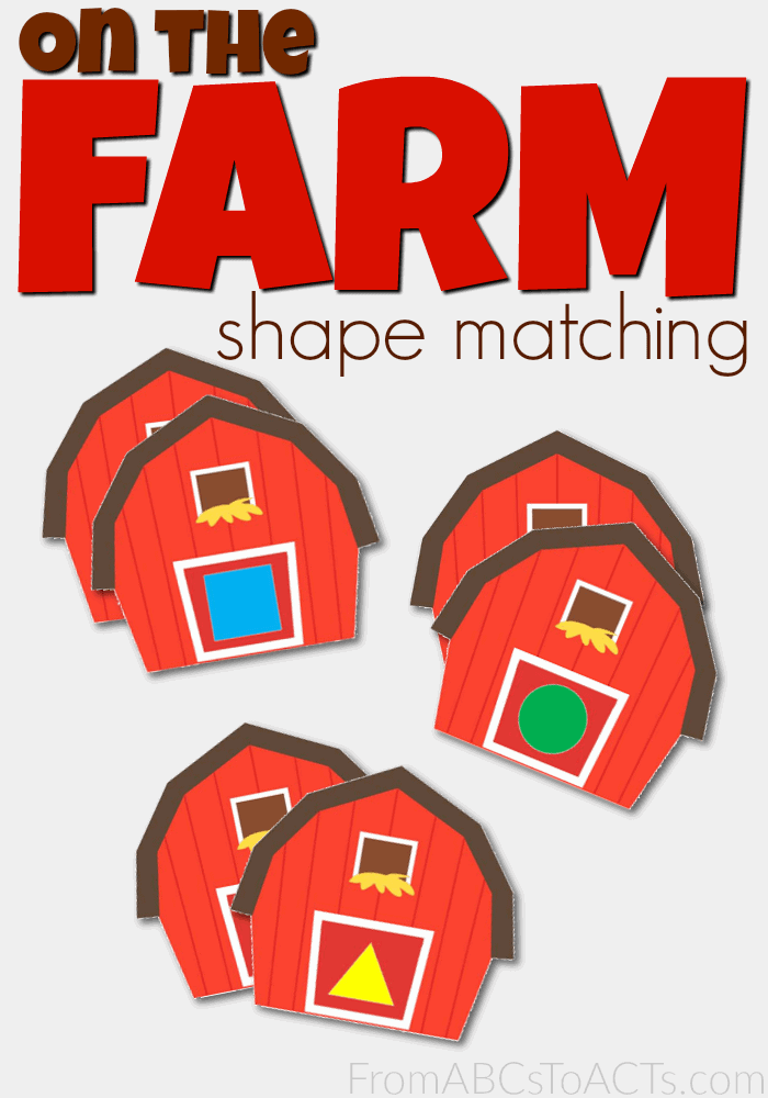 On the Farm Shape Matching Printables