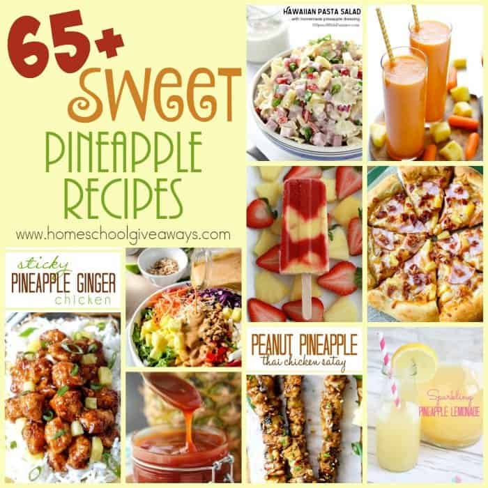 If you love pineapples, you will love these sweet and delicious recipes! Over 65 breakfast, sauces, desserts and more. :: www.homeschoolgiveaways.com