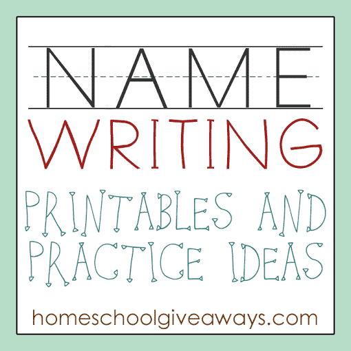 name writing printables and practice ideas homeschool giveaways. Black Bedroom Furniture Sets. Home Design Ideas