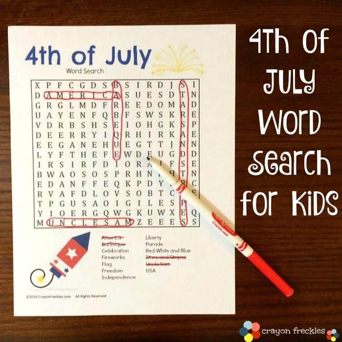 Free Printable Independence Day Word Search Homeschool