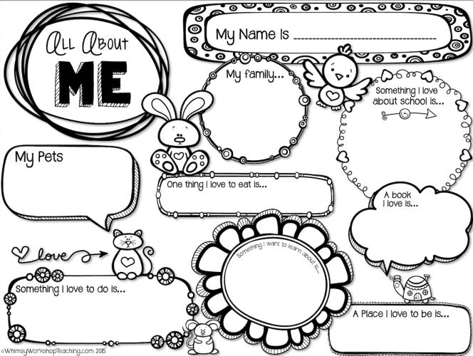 Free back to school printable for About me template for students
