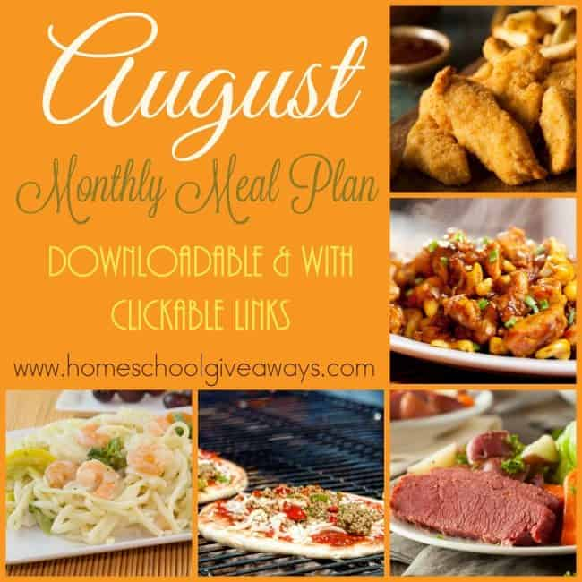 If these super hot days are wearing on you, try our August Monthly Meal Plan and cook during the early hours to avoid the heat! Includes clickable links to recipes! :: www.homeschoolgiveaways.com