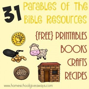 Add some fun and printables to your Bible time with these Parables of the Bible resources. Over 30 printables, crafts, activities, books & MORE! :: www.homeschoolgiveaways.com