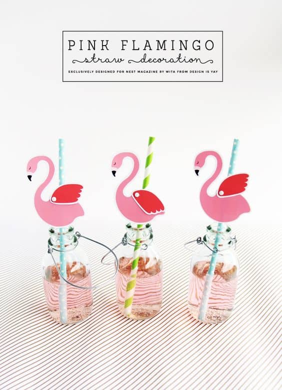 graphic regarding Flamingo Printable referred to as Cost-free Printable Purple Flamingo Straw Decorations - Homeschool