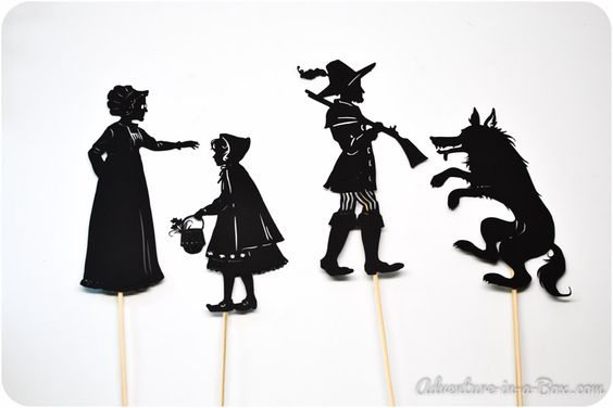 Free printable little red riding hood shadow puppets for Free shadow puppet templates