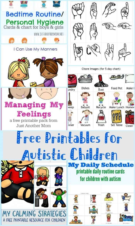 Free Printables For Autistic Children