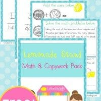 Free-Lemonade-Stand-Math-Copywork-Pack-By-Year-Round-Homeschooling