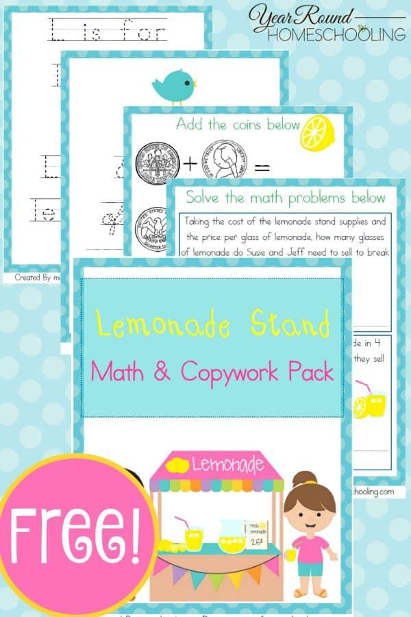 FREE Lemonade Stand Math and Copywork Pack   Homeschool Giveaways