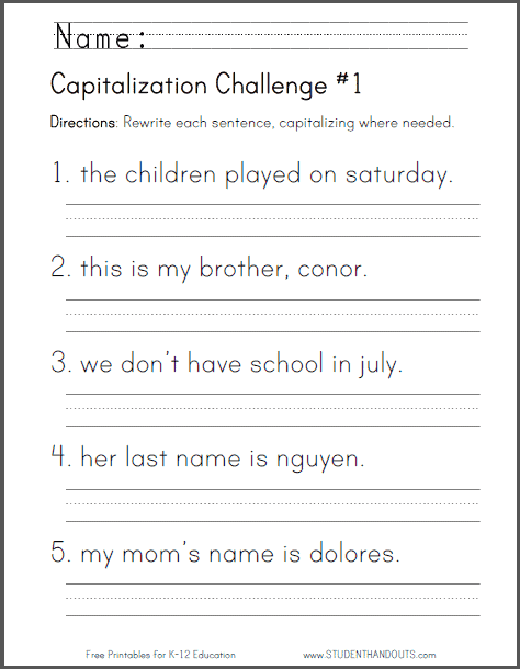 free printable capitalization challenge worksheet homeschool giveaways. Black Bedroom Furniture Sets. Home Design Ideas