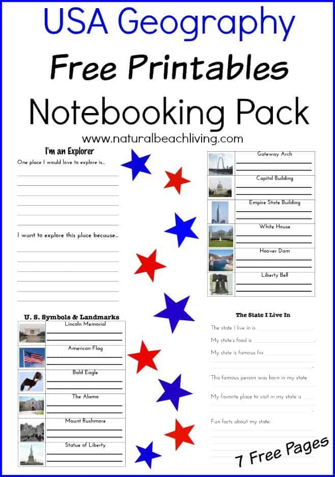 usa geography free notebooking packet. Black Bedroom Furniture Sets. Home Design Ideas