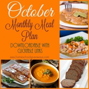 October is just a few days away and that means meal plans need to be made! Check out our October Menu Plan - it's downloadable and has clickable links! :: www.homeschoolgiveaways.com