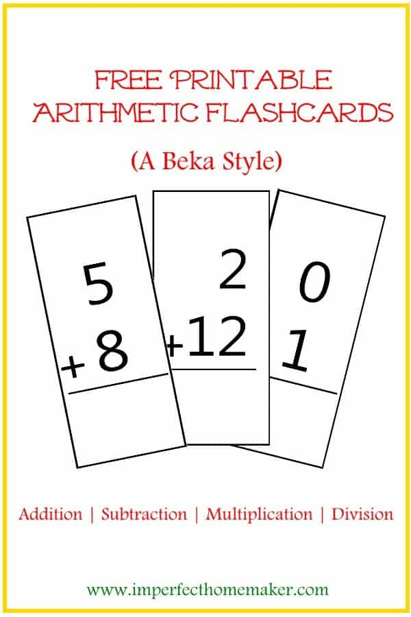Free Printable Abeka Style Arithmetic Flash Cards on Homeschool Free Printable Curriculum
