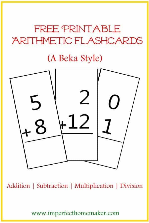 FREE Printable ABeka-Style Arithmetic Flash Cards