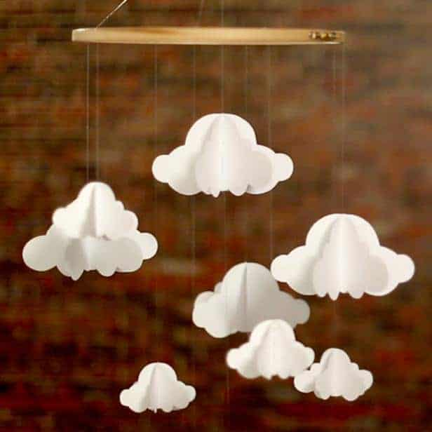 diy cloud mobile with free printable cloud template