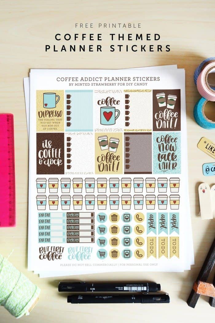 FREE Printable Coffee-Themed Planner Stickers