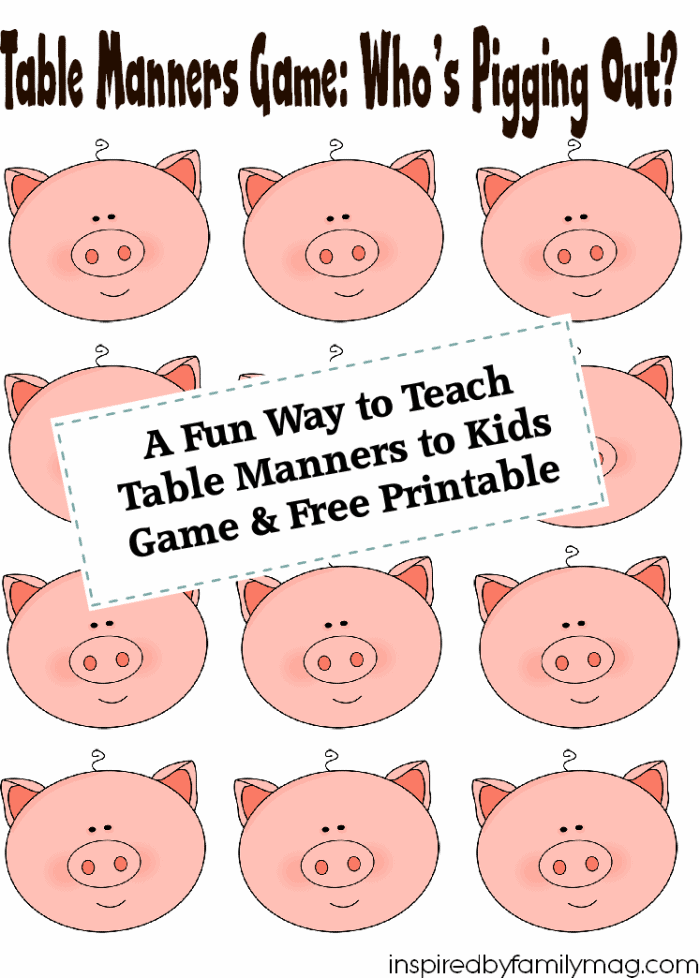 Free printable table manners game for 10 good table manners