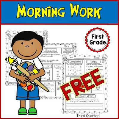 FREE Printable 1st Grade Morning Work - Homeschool Giveaways