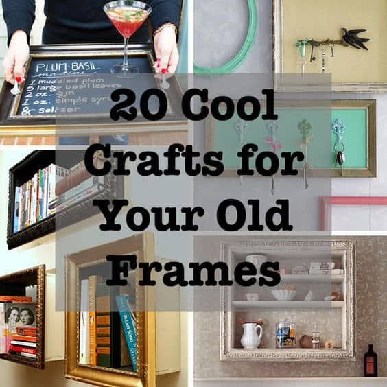 20 cool crafts for your old frames for Old picture frame projects