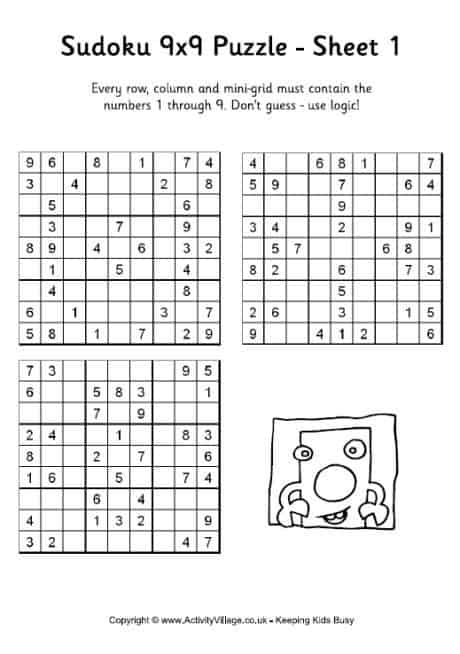 It's just a graphic of Witty Printable Sudokus for Kids