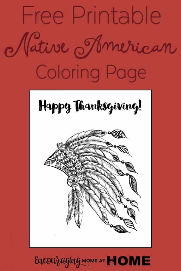 Free printable thanksgiving native american coloring page for Indian coloring pages for thanksgiving