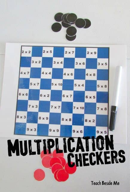 Multiplication Checkers Math Games
