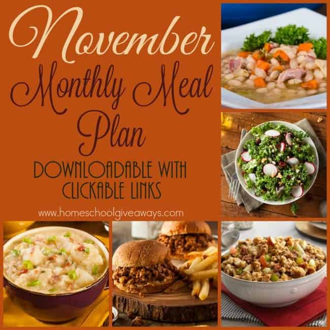 Thanksgiving is quickly approaching, but that doesn't mean you can't make meal plans! Check out this months meal plan with delicious soups, slow cooker recipes and more! :: www.homeschoolgiveaways.com