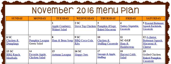 November Meal Plan