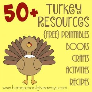 Make Thanksgiving a fun and learning experience with these Turkey Resources. This huge list includes printables, crafts, activities, fun recipes and more! :: www.homeschoolgiveaways.com