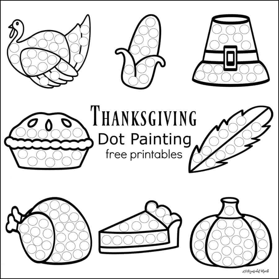 FREE Thanksgiving Dot Painting Printables - Homeschool ...
