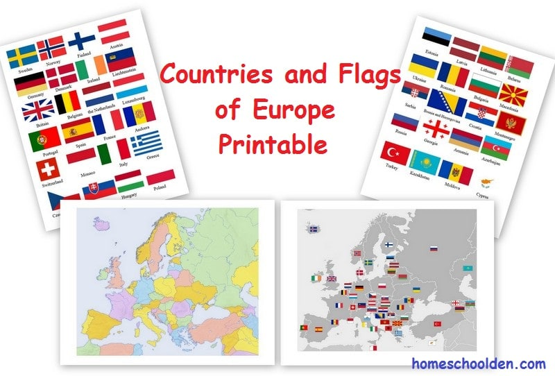 photo about Printable European Maps called Totally free Geography Printable Pack - Maps and Flags of Europe