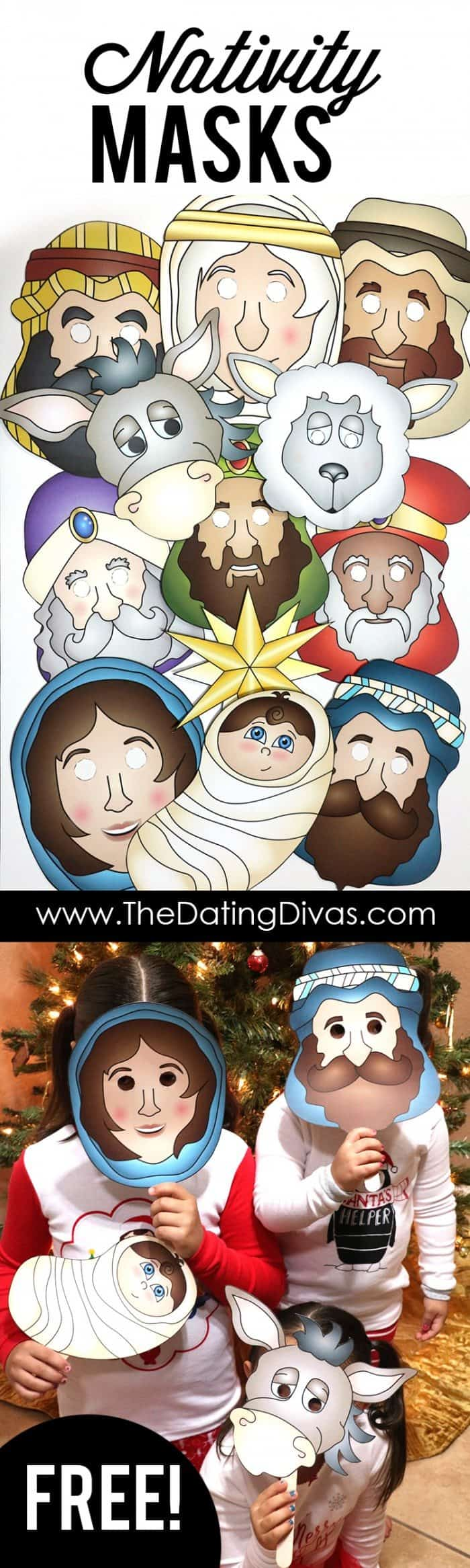 FREE Printable Nativity Masks or Color Your Own Masks and ...
