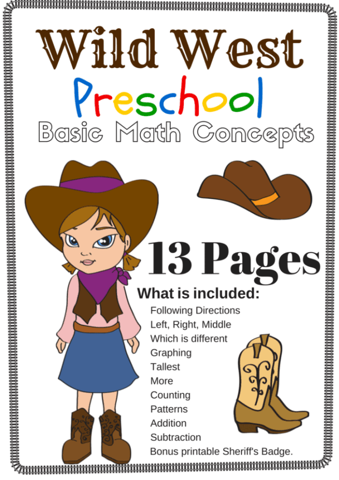 free wild west preschool math packet. Black Bedroom Furniture Sets. Home Design Ideas