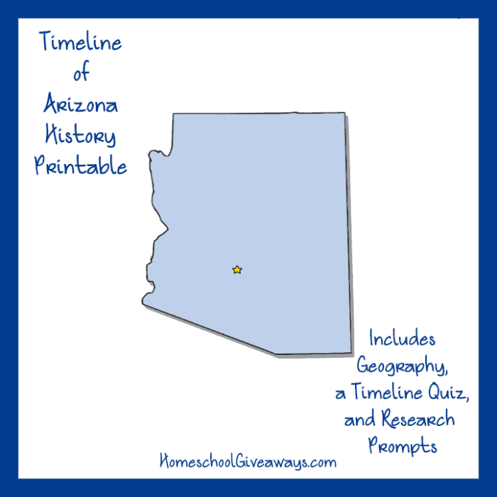 FREE Arizona State History Printable