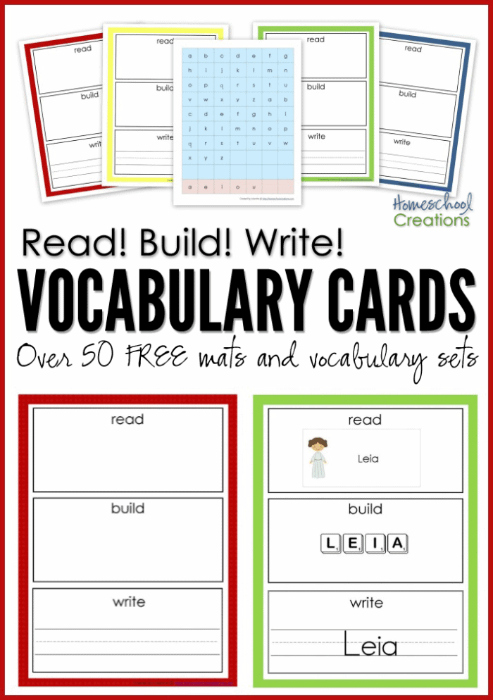 Read! Build! Write! FREE Printable Vocabulary Cards