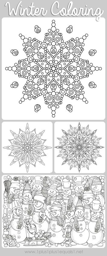 Winter Doodle Coloring on adult coloring pages for anxiety