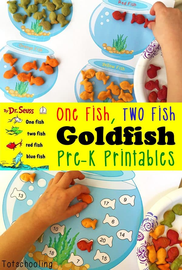 Free one fish two fish goldfish printables for One fish two fish printable