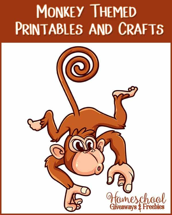 photo regarding Monkey Printable named Absolutely free Monkey Themed Printables and Crafts - Homeschool Giveaways