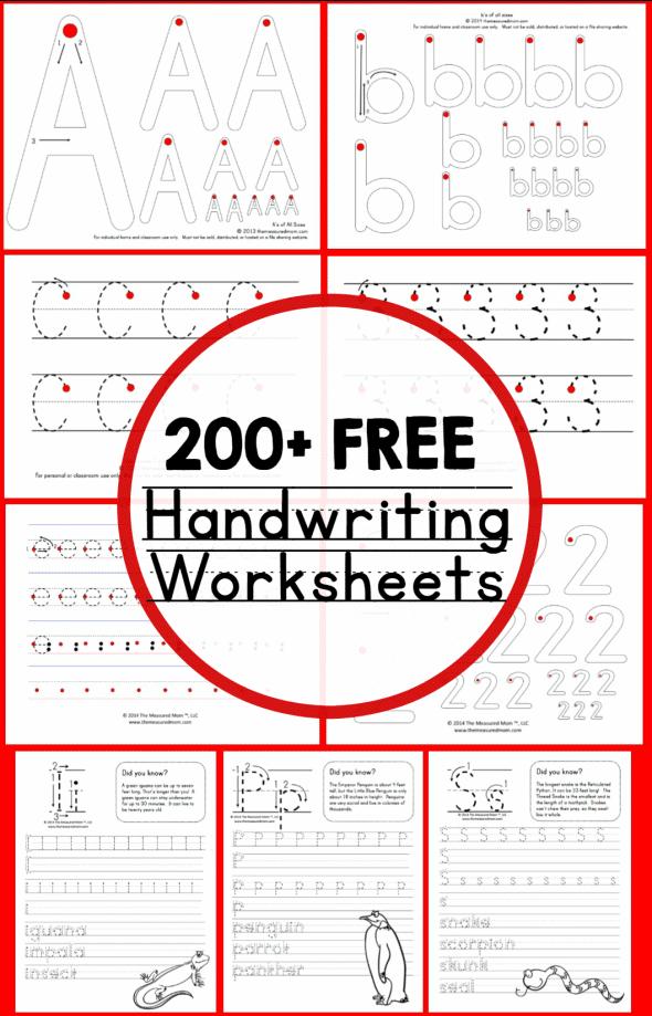 200 Free Printable Handwriting Worksheets
