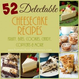 If you love cheesecake, check out all the different options and combos you can make! Over 50 delectable recipes and a few tips to make them even better! :: www.homeschoolgiveaways.com