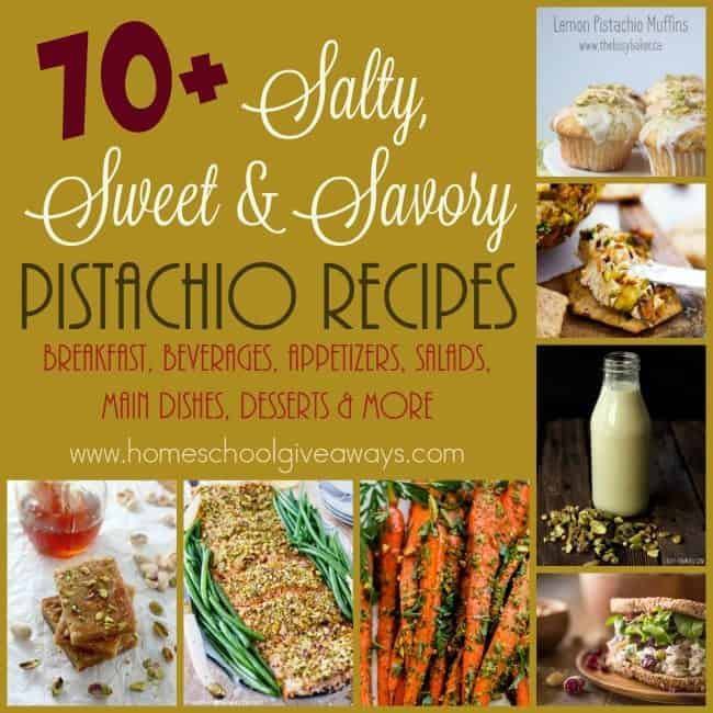 If you love pistachios, these 70+ Salty, Sweet & Savory Recipes are sure to please! From Breakfast to Dessert and everything in between. :: www.homeschoolgiveaways.com